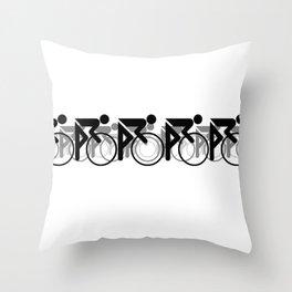 The Bicycle Race 2 Black On White Border Throw Pillow