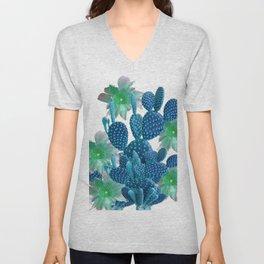 SURREAL BLUE PEAR CACTUS & FLOWERS DESERT ART Unisex V-Neck