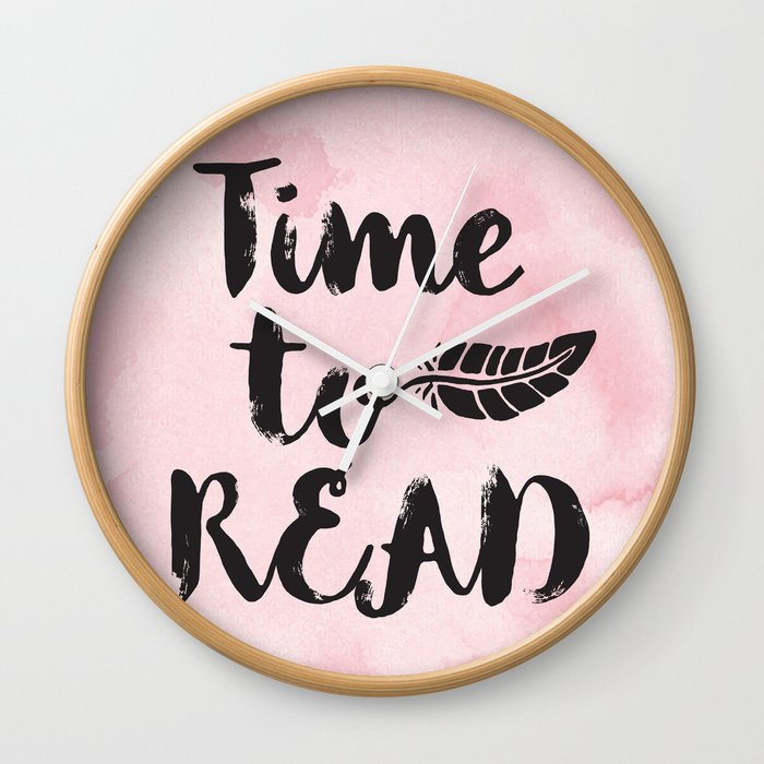 Time To Read Pink Wall Clock By Evieseo Society6