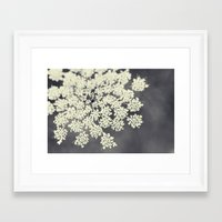 lace Framed Art Prints featuring Black and White Queen Annes Lace by Erin Johnson