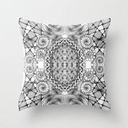 Black and White Zentangle Tile Doodle Design Throw Pillow