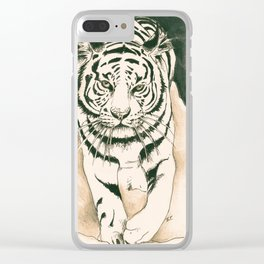 White Tiger Sepia Litograph Style Clear iPhone Case