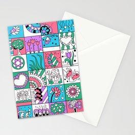Inchies Doodle Design - Dark Pink Purple Blue - Spring Stationery Cards