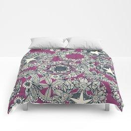 cirque fleur grape Comforters