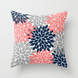Navy Coral Gray Flower Petals, Flower Burst, Floral Pattern Throw Pillow