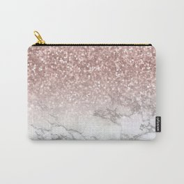 Sparkle - Glittery Rose Gold Marble Carry-All Pouch