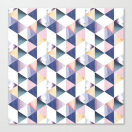 Watercolor geometric pastel colored seamless pattern Canvas Print