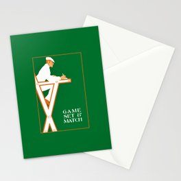 Game set and match retro tennis referee Stationery Cards