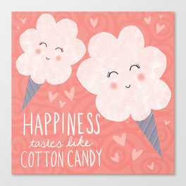 Happiness Tastes Like Cotton Candy Canvas Print