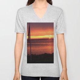 Sunset Over the Ocean Unisex V-Neck