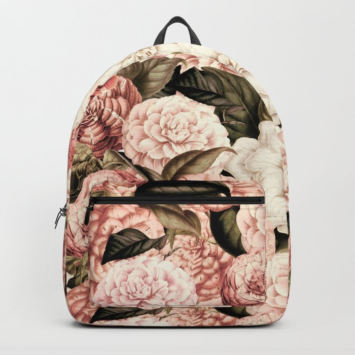 Vintage & Shabby floral camellia flowers watercolor pattern Backpack