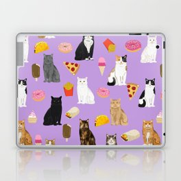 Cat breeds junk food pizza french fries food with cats gifts ice cream donuts Laptop & iPad Skin