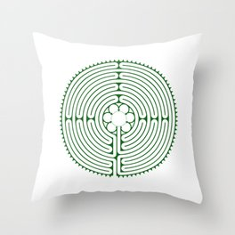 Cathedral of Our Lady of Chartres Labyrinth - Green Throw Pillow