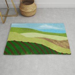 Fields And Farms Under A Summer Sky Rug