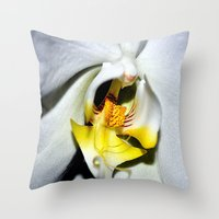 orchid Throw Pillows featuring orchid by  Agostino Lo Coco