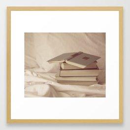 books in bed Framed Art Print