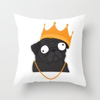 notorious Throw Pillows featuring Notorious P.U.G by Puglic Enemy