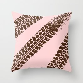 Mountain bike tyre marks Throw Pillow