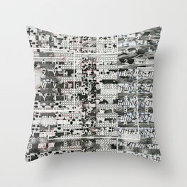 Crossing the Threshold of Sticky Potential (P/D3 Glitch Collage Studies) Throw Pillow