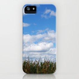 "Corn field in autumn with ""popcorn"" clouds iPhone Case"