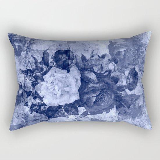 old roses in light blue Rectangular Pillow