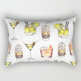 Fun Watercolor Drinks Pattern- Party Time Rectangular Pillow