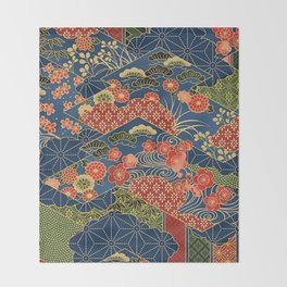 Japan Quilt Throw Blanket