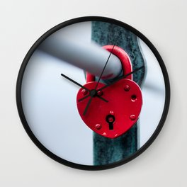 Red Heart Lock Wall Clock