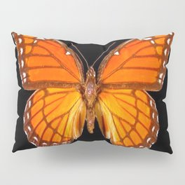 ORANGE MONARCH BUTTERFLY ON BLACK Pillow Sham