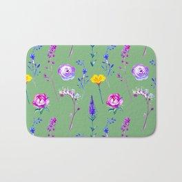 Violet lilac blue modern watercolor floral Bath Mat