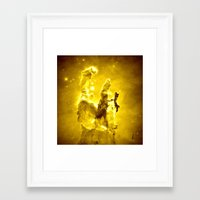 nebula Framed Art Prints featuring Yellow neBUla  by 2sweet4words Designs