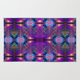 Colourful magic, fractal pattern abstract Rug