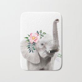 Baby Elephant with Flower Crown Bath Mat