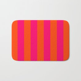Bright Neon Pink and Orange Vertical Cabana Tent Stripes Bath Mat