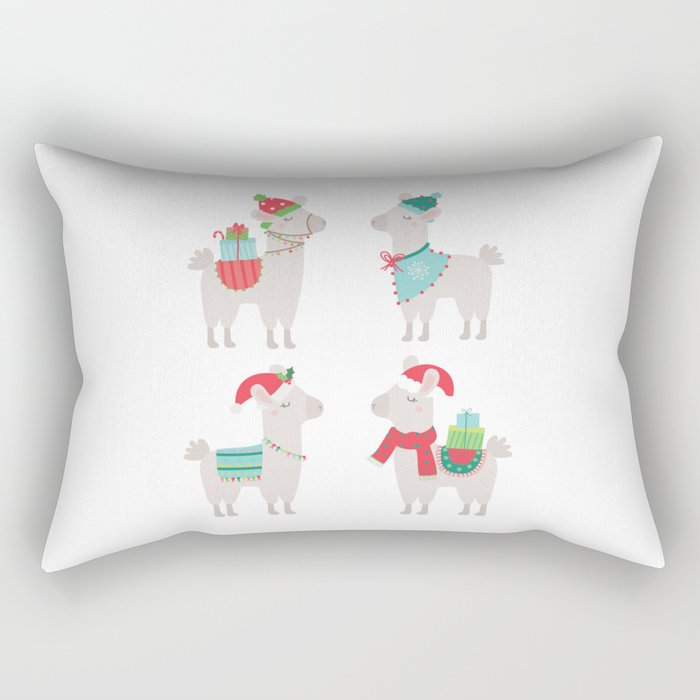 Christmas llamas Rectangular Pillow