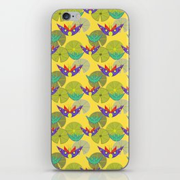 Waterlilies in a pond seamless pattern -yellow iPhone Skin