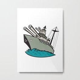 World War Two Battleship Cartoon Metal Print