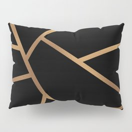 Black and Gold Fragments - Geometric Design Pillow Sham