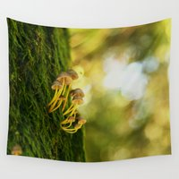 mushrooms Wall Tapestries featuring Mushrooms by Tarraf Photography
