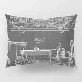 Steam Train Patent - Steam Locomotive Art - Black Chalkboard Pillow Sham