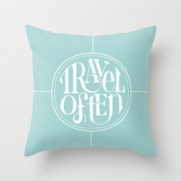 Travel with Teal Throw Pillow