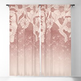 Chic Pink Rose Gold Floral Drawing Glitter Ombre Blackout Curtain