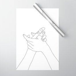 Hands line drawing illustration - Esmie Wrapping Paper