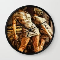 silent hill Wall Clocks featuring Deadly Duo Silent Hill Nurses by Joe Misrasi