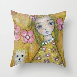 Blonde Girl with Dogs by Flor Larios Throw Pillow