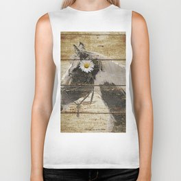 Daisy Flower on Rustic Brown Cream Horse Country Barn Art A166 Biker Tank