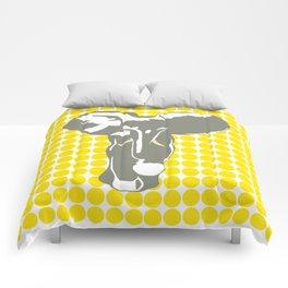 Golden Yellow Safari Dot with Pop Art Elephant Comforters