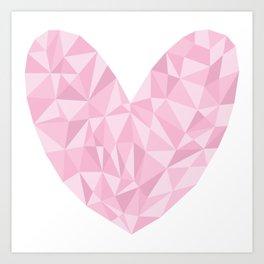 Pink Polygon Heart Art Print