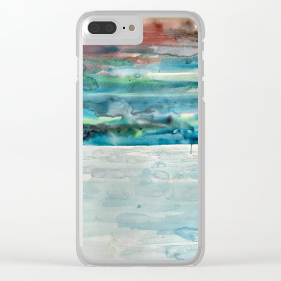Miami Beach Watercolor #5 Clear iPhone Case