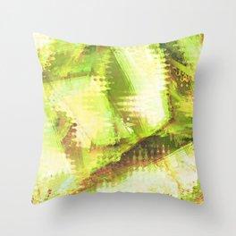 Fragmented Green Abstract Artwork Throw Pillow